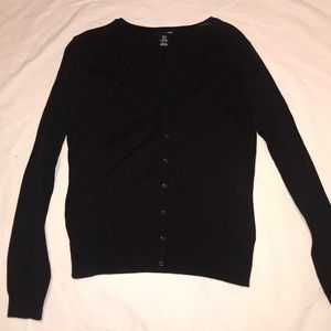 Blk cotton poly knit cardigan long sleeve
